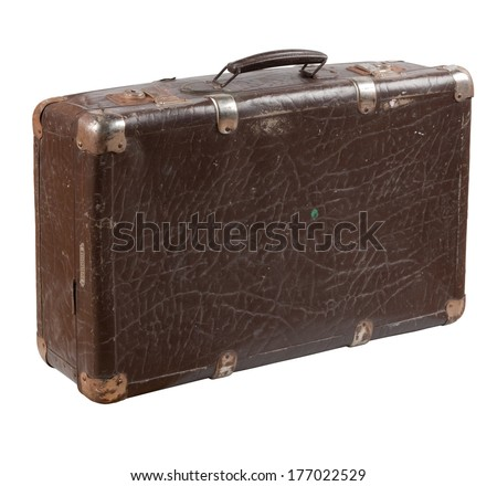 Old shabby leather suitcase with rusty metal brackets on its verges. Photo isolated on white background. - stock photo