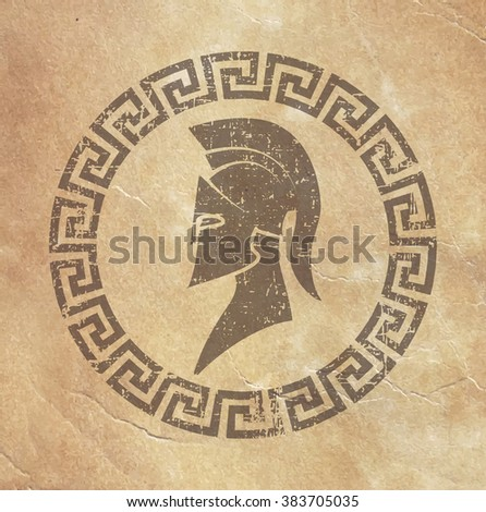 old shabby symbol of reproduction on paper Spartan warrior in grunge style - stock photo