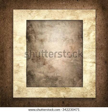 old shabby vintage grunge paper frame - stock photo