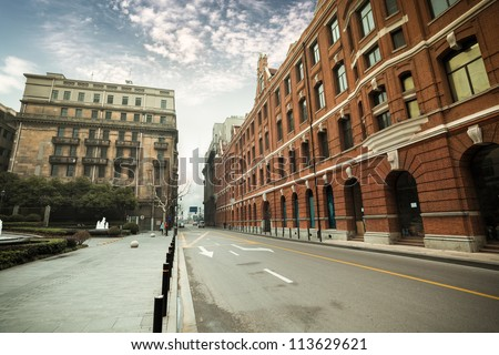 old shanghai with outstanding historic buildings - stock photo