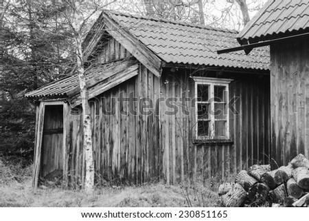 Old shed with firewood - stock photo