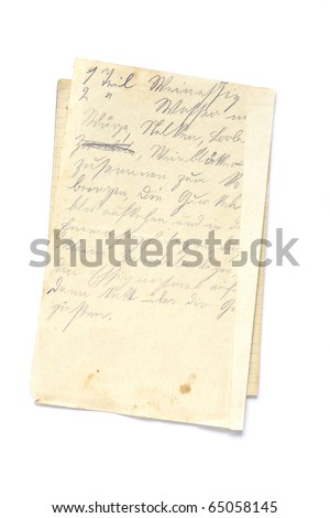 old sheet of old paper with recipe in german isolated on white - stock photo