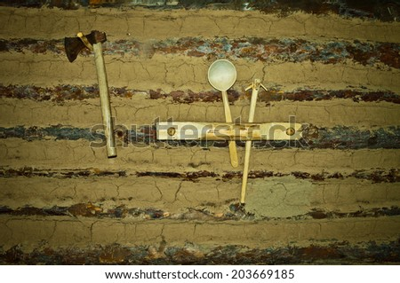 old shelf in prehistoric hut - stock photo