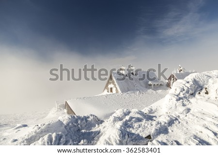 Old shelter on moutain top in Bieszczady - stock photo