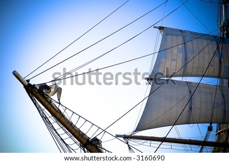 Old ship bow and sail