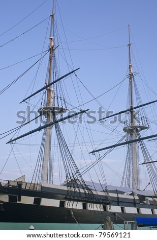 Old ship in Baltimore Inner Harbor at sunset - stock photo