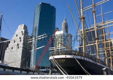 Old ship in NYC port - stock photo