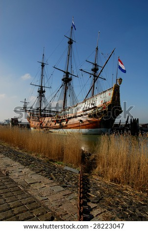 old ship in the harbor, The Netherlands - stock photo