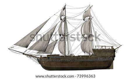 old ship isolated in white - stock photo