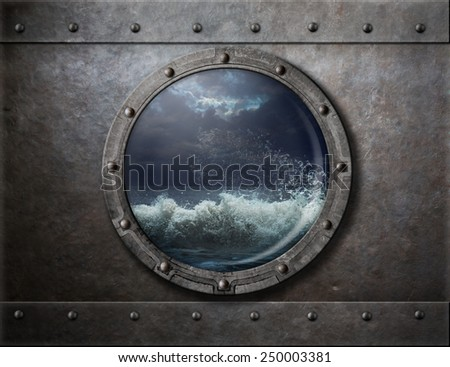 old ship metal porthole or window with sea storm - stock photo