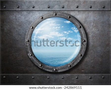 old ship rusty porthole or window with sea and horizon behind - stock photo