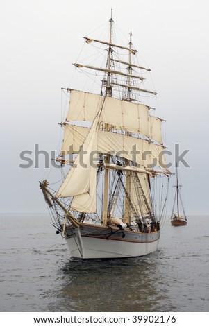 Old ship sailing - stock photo