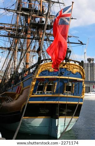 Old ship stern with a flag (Australia) - stock photo
