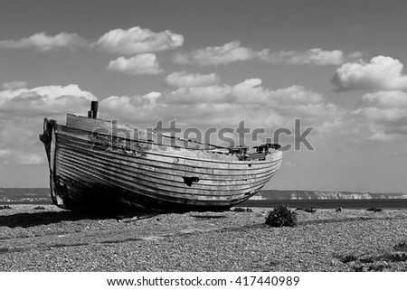 old ship stranded - stock photo