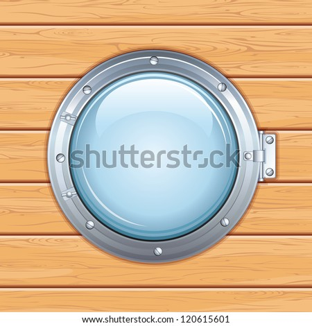 Old Ship Window, Porthole on a Wooden Wall