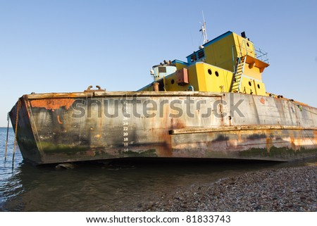 Old ShipWreck in the Port of Lisbon - stock photo