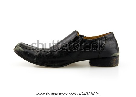 Old shoe on a white background