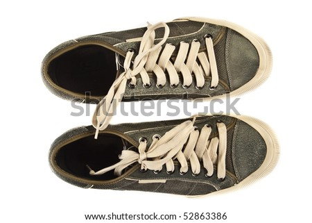 Old shoes. Isolated on white background. - stock photo