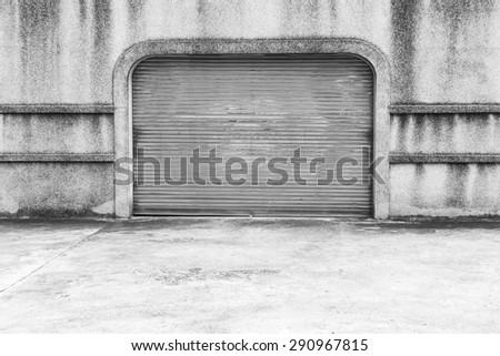 Old shutter door or rolling door background. - stock photo