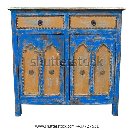 Old sideboard isolated. Clipping path included. - stock photo