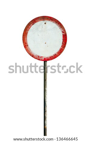 old sign ban isolated on white background - stock photo