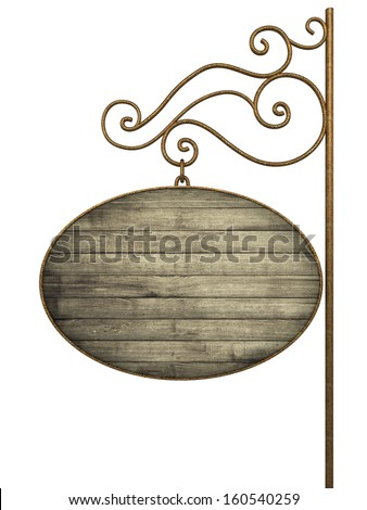 Old signboard. Isolated on white - stock photo