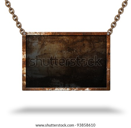 Old signboard with rusted frame - stock photo