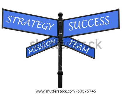 Old signpost and fundamental pillars of successful management - stock photo