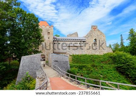 Old Sigulda castle. Latvia - stock photo