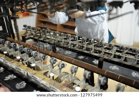Old silk machines in Chinese factory - stock photo