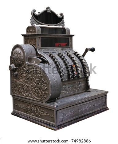 Old silver cash register isolated on white. - stock photo