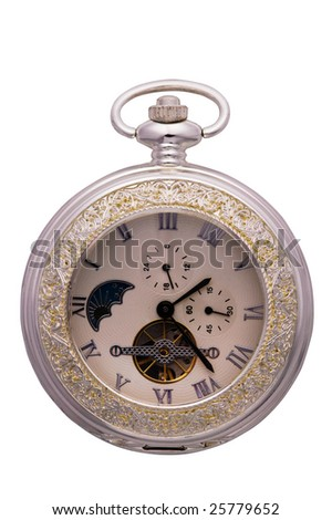 Old silver clock on white background.