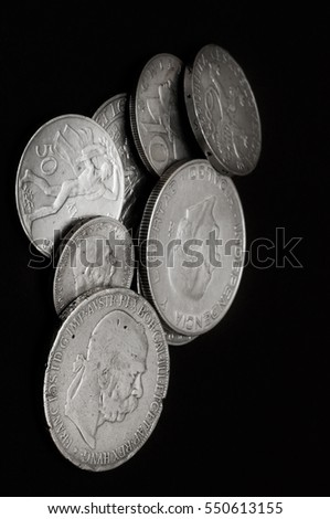 Old silver coins numismatics. Silver coins from Europe.