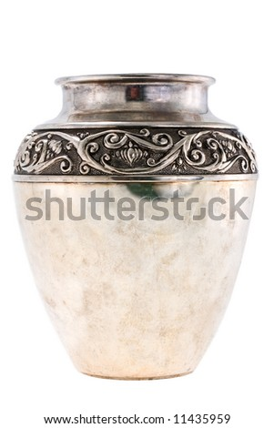 Old silver jug on a white background - stock photo