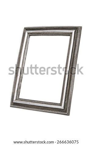 Old silver picture frame isolated over white with clipping path. - stock photo