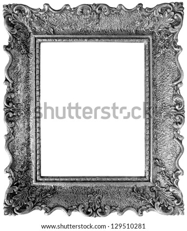 Old Silver Picture Frame with Clipping Path inside and outside - stock photo