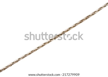 Old silver plated chain detail isolated on white