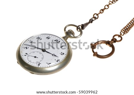 Old silver pocket watch - stock photo