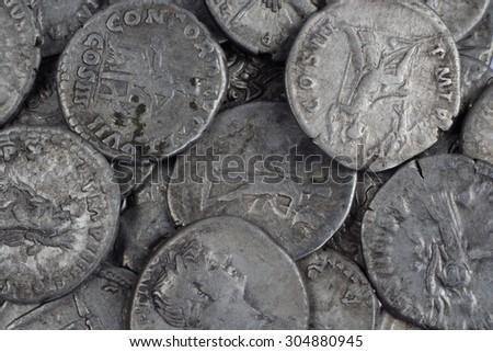 old silver roman coins  - stock photo