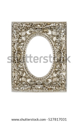 Old silver round picture frame isolated on white with clipping path.