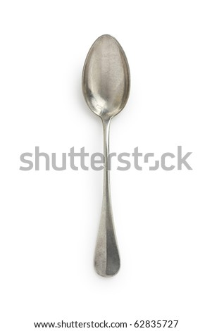 Old Silver Spoon - stock photo
