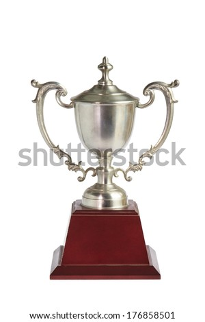 Old Silver Trophy isolated on white (clipping path) - stock photo