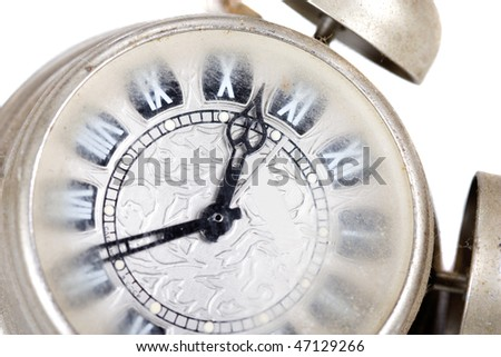 old silver watch on white background