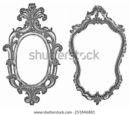 Old silver wooden frames for mirrors and tapestries - stock photo