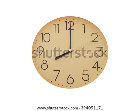 Old simple wall clock or watch, isolated on white background - stock photo
