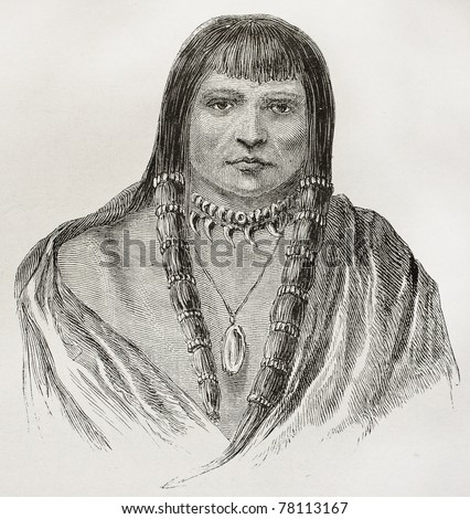 Old Sioux warrior engraved portrait. Created by Lancelot, published on Le Tour du Monde, Paris, 1864 - stock photo