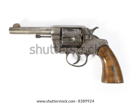 Old six-shooter 38 caliber revolver - stock photo