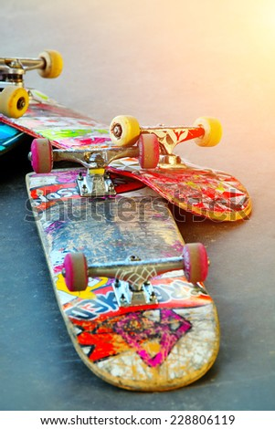 Old Skateboards - stock photo