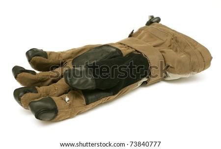 old ski glove on white background - stock photo