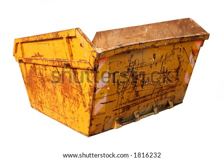 Old Skip for construction waste. - stock photo